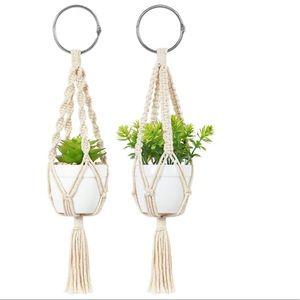 Mini Macrame Hanging 2 Pcs Planter Pot & Plant
